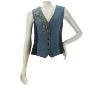 Bob Mackies Peacock Plume Embroidered Faux Suede and Moleskin Vest