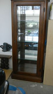 Antique Vintage Oak Curio China Cabinet