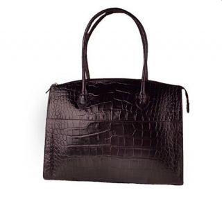 Michael Rome Croco Embossed Italian Leather Zip Top Tote —