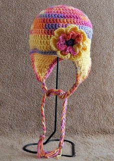 Ear Flap Hat Flower Braided Ties Hand Crocheted Toddler Warm Winter