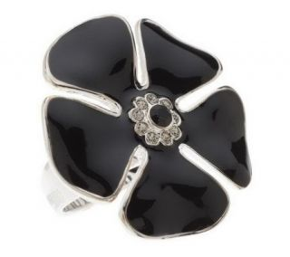As Is David Sigal Sterling Enamel &Crystal Flower Ring —