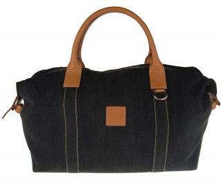 Dooney & Bourke Large Canvas Duffle Bag with Leather Trim —