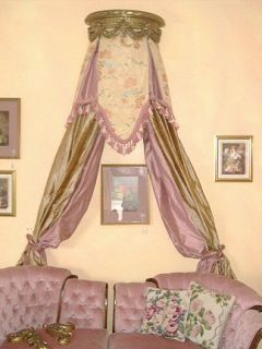 Gilded Gold Canopy Drapery Bed Crown French Style