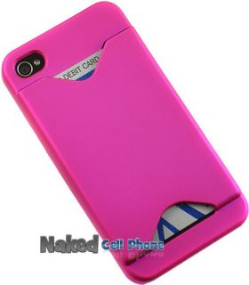Pink Credit Card ID Wallet Case Cover for iPhone 4S 4
