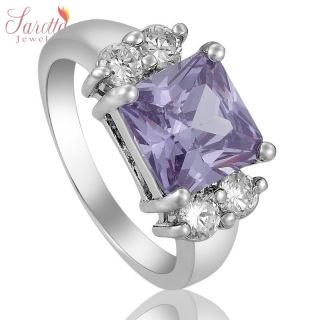 LADY FASHION JEWELRY PURPLE TANZANITE WHITE GOLD GP COCKTAIL RING SIZE