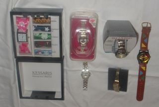 Fashion Costume Jewelry Ladies Watches, 1 w/6 bands, 2 new, 3 fashion