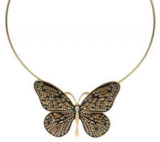 Wildlife by Heidi Klum Enamel &Crystal Butterfly Necklace —