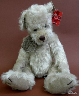 Russ Teddy Bear Claridge Faux Distressed Cream Mohair