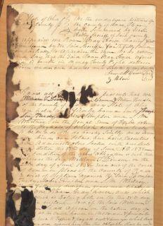 1838 Antique Knox County Ohio Handwritten Paper Roan Gray Horse Linson