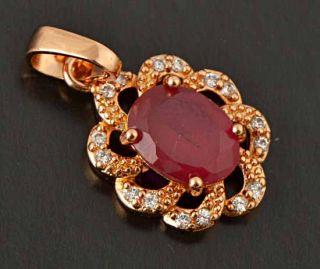 9K Rose Gold Filled Red Ruby,CZ,Womens Pendant,So elegantF240