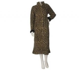 Stan Herman Animal Instinct Petite Plush Zip Front Robe   A217378