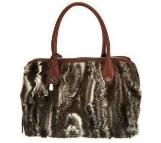 Makowsky Faux Fur Zip Top Satchel with Leather Trim   A228874
