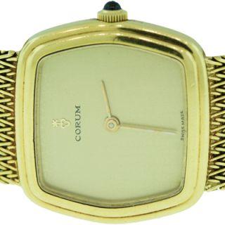 Corum 18K Solid Gold Beautiful Ladies Watch Cabochon Sapphire Crown R