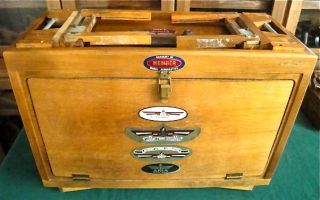 Vintage Scarce Aeoronautics Traveling Fold Up Tool Box Chest Gerstner