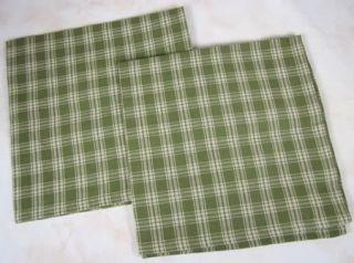 Country Green Tan Plaid Sturbridge Cotton Napkin Set 2