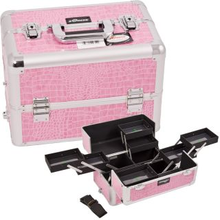 Pro Easy Clean Makeup Train Case Organizer E330 Crocodile Pink