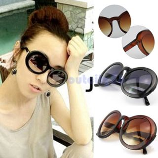 Thick Eye Bending Plastic Frame Dark Round Lenses Sunglasses