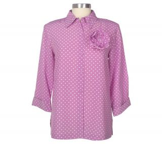 Susan Graver Crepe Polka Dot Big Shirt with Flower Pin —