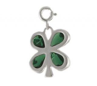 Sterling Four Leaf Clover Charm w/Green Cubic Zirconia Accents