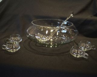 Crystal Glass Moderno Riekes Crisa 26 Piece Punch Bowl Set