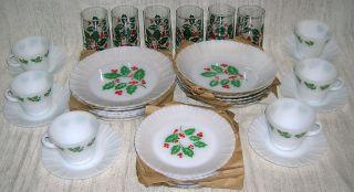 Crisa Christmas Holly Berries Milk Glass Dinnerware 6 Place Settings