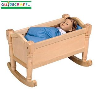 New Wooden Kids Toy Baby Doll Bed Wood Cradle Natural