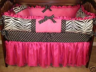 Custom Made Baby Crib Bedding Zebra Hot Pink