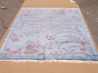 RRA 12x15 Art Deco Floral Design Rug Light Blue 23009