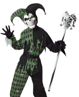 Kids Boys Scary Evil Court Jester Joker Halloween Costume