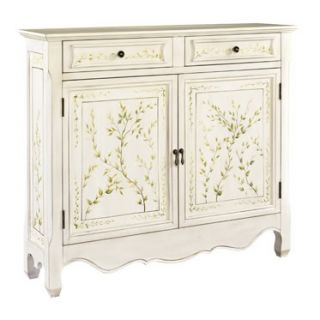 Shabby Cottage Chic White Vines Sideboard Buffet Cabinet Entry Accent