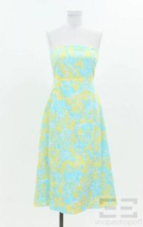 Pulitzer Yellow & Blue Animal Print Cotton Tie Back Strapless Dress