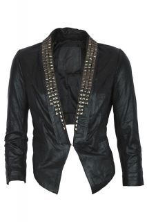 Womens Chic Silver Studded Slim Cropped Leather Jacket