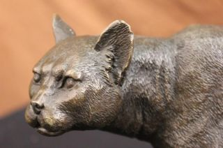 Bronze Lion Cougar Bobcat Panther Lynx Puma Statue Art Deco Marble