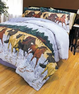Wild Horses 4 Piece Bedding Set Reversible Comforter Bedskirt 2 Shams