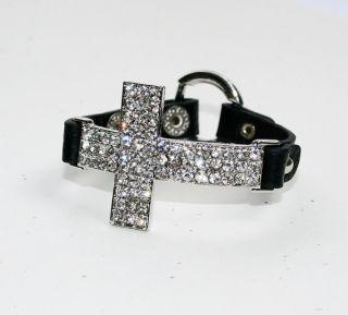 Crystal Cross Bracelet Black Leather Band EPA001