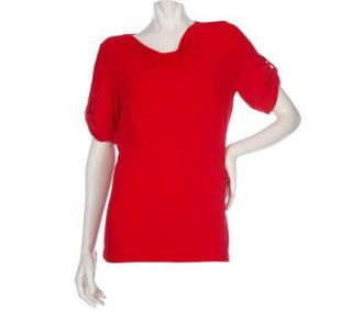 Susan Graver Liquid Knit Empire Seam Top with Cowl Neck and Tab