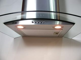 Curved Glass Cooker Hood 90cm Extract Fan with Vent Kit