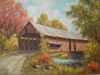 STEININGER INDIANA Art Artist OIL PAINTING Covered Bridge Brown County