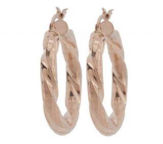 Veronese 18K Clad 1 1/8 Diamond Cut Twisted Hoop Earrings   J267884
