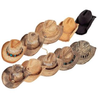 Lot of 10pc Straw Shapeable Cowboy Western Hat Set Work Rodeo