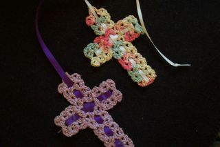 Vtg Handmade Crochet Cross Bible Bookmarks PR Lot