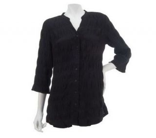 Liz Claiborne New York 3/4 Sleeve Button Front Pucker Tunic   A224286