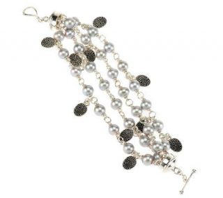 Michael Dawkins Sterling Silver Cultured Pearl Multi Strand 6 3/4