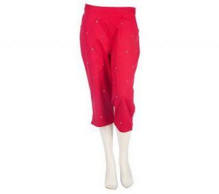 Quacker Factory Polka Dot Embroidered Capri Pants   A213986