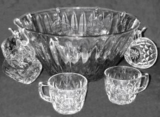 Vtg Anchor Hocking Crown Point Punch Bowl 12 Cups Clear Glass