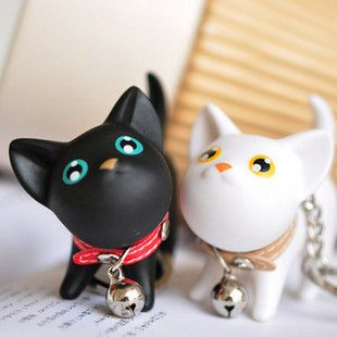 New Korean Cute Black White Cat Kitty Couple Lover Wedding Key Chain