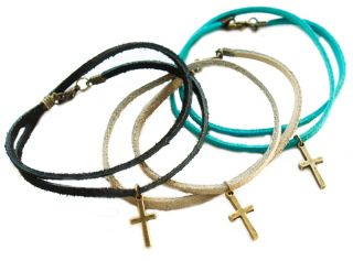 Suede Cross Wrap Bracelet Friendship Cord Goth Boho Tribal Vintage