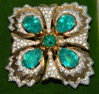 Silver Rhinestone Emerald Green Crystal Maltese Cross Brooch