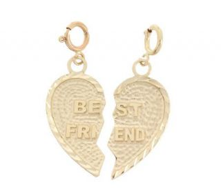 Polished and Textured Best Friend Charm 14K Gold —