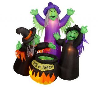 Animated Witches Airblown w/ Candy Dish Cauldron —
